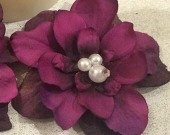 Purple/Turquoise Flower Hair Clip