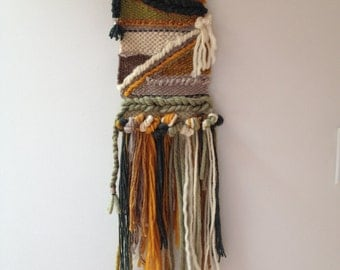Hand woven, one of a kind, wall hanging -Earth tones