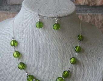 Lime Green Necklace and Earring Set