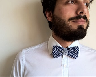 FRED BOWTIE | Knitting grey and blue bow tie, totally handmade in pure cotton | Perfect gift for him