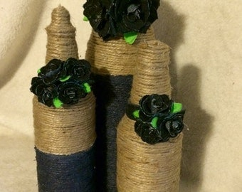 Decorative bottles with handmade denim flowers