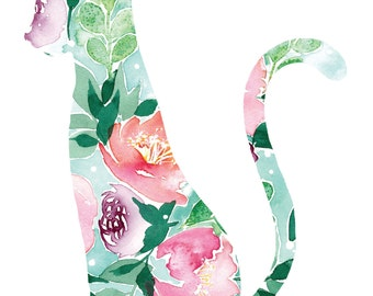 Watercolor flower cat print 8x10