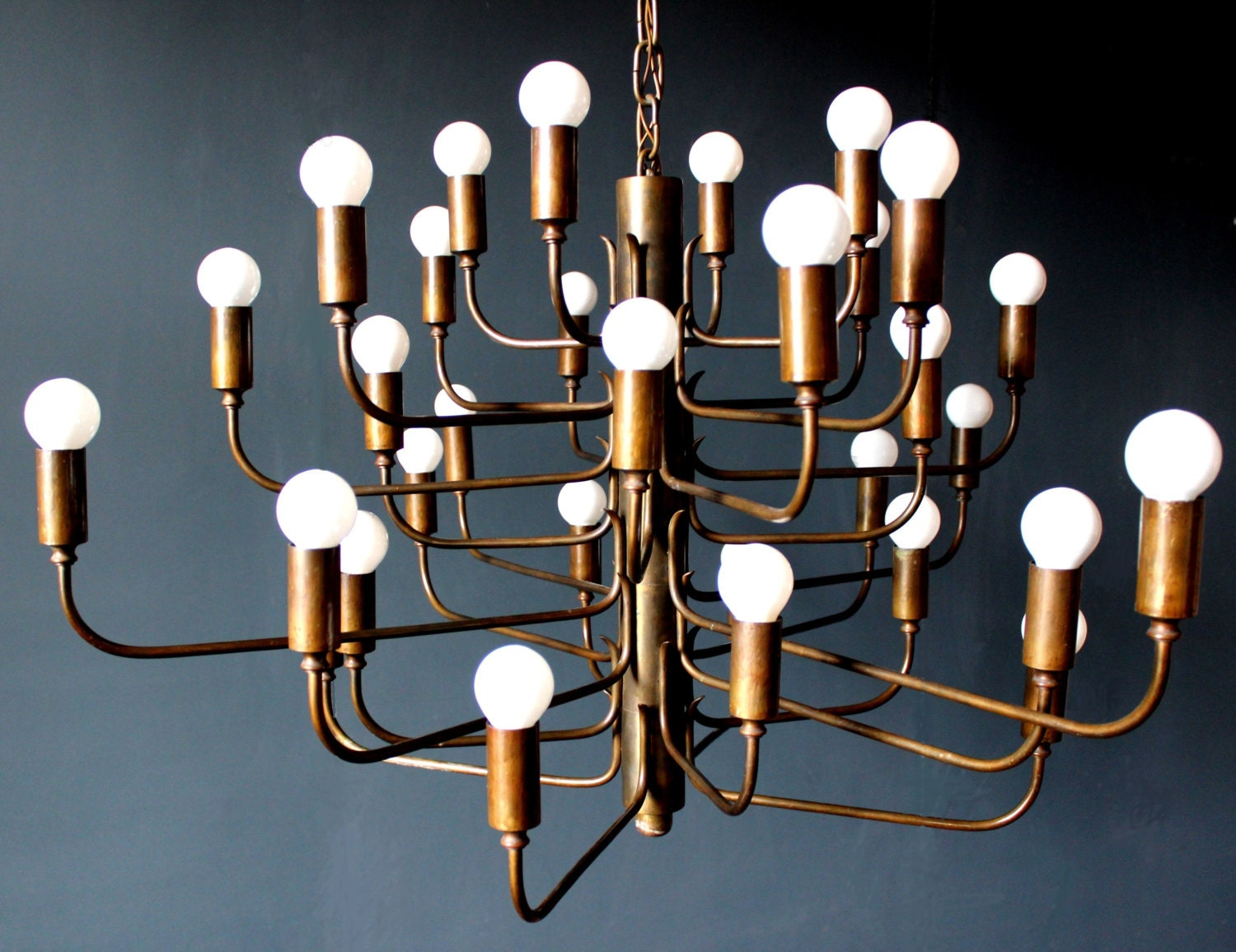 1 of 2 HEAVY BRONZE 32 Lights Cinema Chandelier by GRAFvonBRUECK