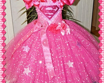 Handmade Girls Pink Superman Supergirl Superhero Tutu Dress