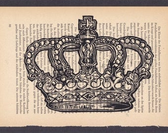 Crown lino print on book page