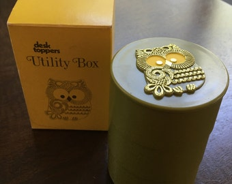 Owl Desk Top Utility Box, Stackable Utility Box, Desk Organizer, Office Supply Organizer