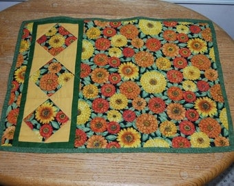 Falling Diamonds Quilted  Placemats