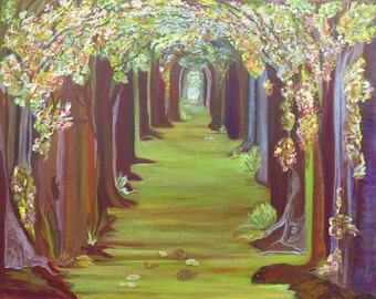 Tree-lined Avenue, unique, colorful, modern art, fairy tale forest