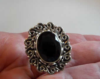Huge Black Spinel Ring Size 7 Solid Sterling Silver Artisan Crafted 11.62 carats