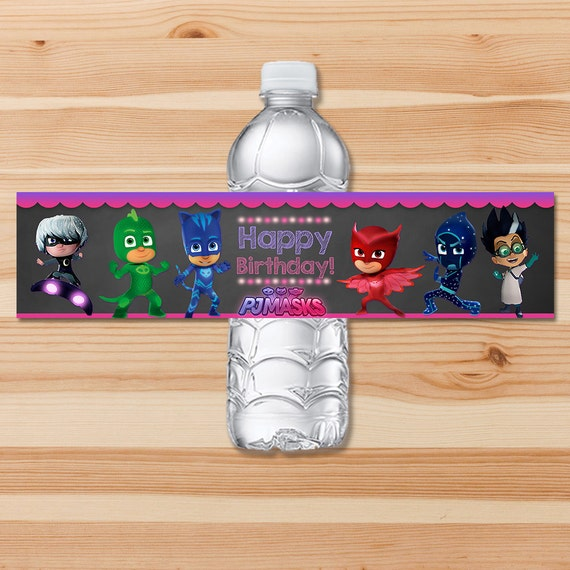 PJ Masks Birthday Drink Label - Pink Chalkboard - Girl PJ Masks Water Bottle Label - PJ Masks Birthday Girl Party - Pj Masks Party Printable