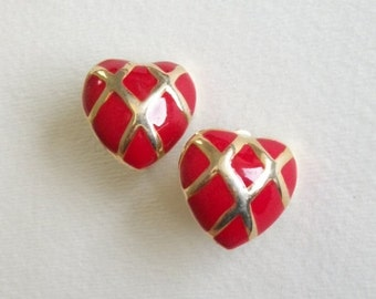 Vintage Clip On Earrings Quilted Red Heart Red and Gold Toned Clip On Earrings Vintage Clip On Earrings Gold Toned UnSigned Vintage Jewelry