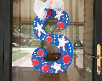 Patriotic Initial Door Hanger