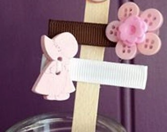 "The ""Pink bonnie and chocberry"" hair clips.  Cute duo for any little girl. New and upcycled button clips.  Made to order."