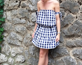 Off the shoulder dress / Off shoulder gingham dress / Blue dress / White dress / Handmade off shoulder dress / Summer dress / Gingham dress