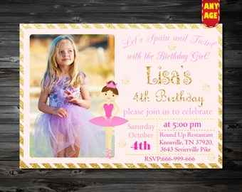 Ballerina Birthday Invitation,Ballerina Invitation,ballerina invite,Ballerina Printable Invitation,1st 2nd 3rd 4th 5th 6th 7th kids birthday