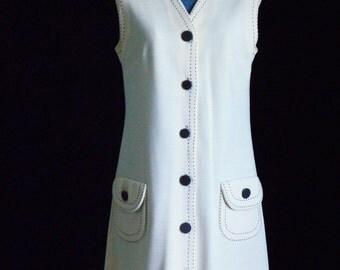 """Vintage Mod Dress 1960's - 1970's Cream Color """"Butte Knit"""""""