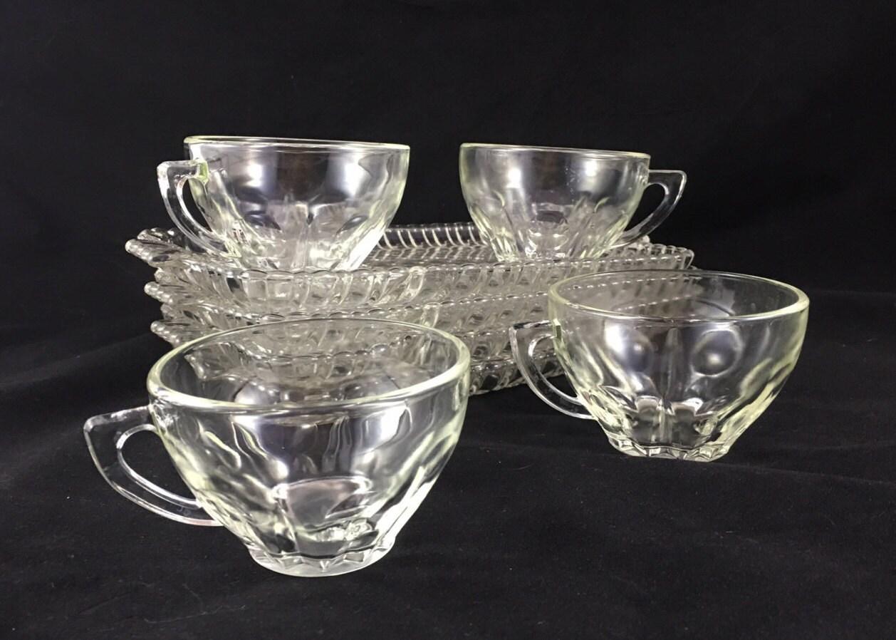 Set of anchor hocking vintage glass snack sets