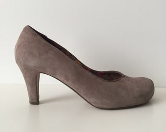 Pale eggplant shoes suede leather shoes genuine leather shoes size 7