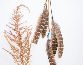Feather Hair Clip, Boho, Bohemian, Clip-in feather, Hair accessory, Tribal, Hair extension, Pheasant Feather
