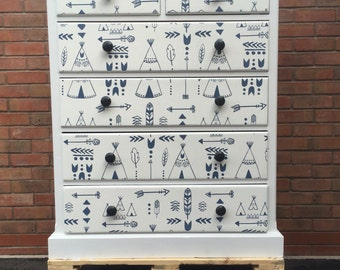 NOW SOLD  Vintage Refurbished Chest of Drawers / Tallboy