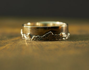 Carpathian Mountains Silver Ring, Mountain Ring, Wedding Band, Textured Landscape Ring, Custom Mountain Ring, Nature Ring, Mountains, Solid
