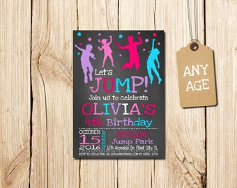 Jump Birthday, for girl, Photo invitation Printable, Jump, Jump Birthday, Bounce Birthday Invitation,  Let's Jump