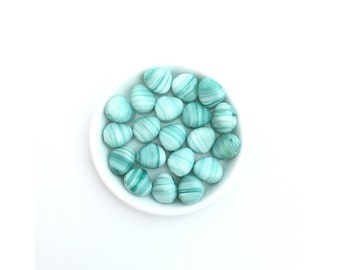 20pc 11mm Czech Frosted Glass Nugget Teal Swirl-Glass Pebble-Pressed Bead # 4835C