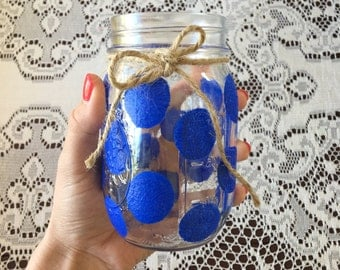 Blue Polkadot Drinking Glass