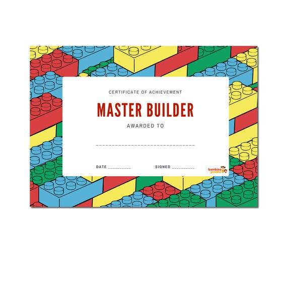 Lego Inspired Master Builder Certificates Printable Lego