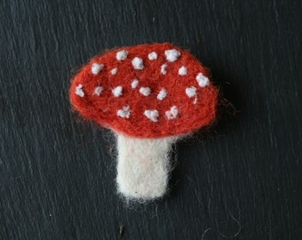 Fly Agaric Mushroom Toadstool Brooch **Needle-Felted Naturally-Dyed**
