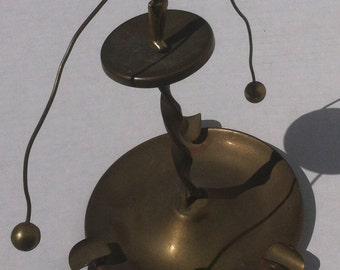 Vintage Brass 2 Piece Balancing Man, Vintage Farmer, Balancing Act, Optical Illusion, Magic, Balancing Brass Man