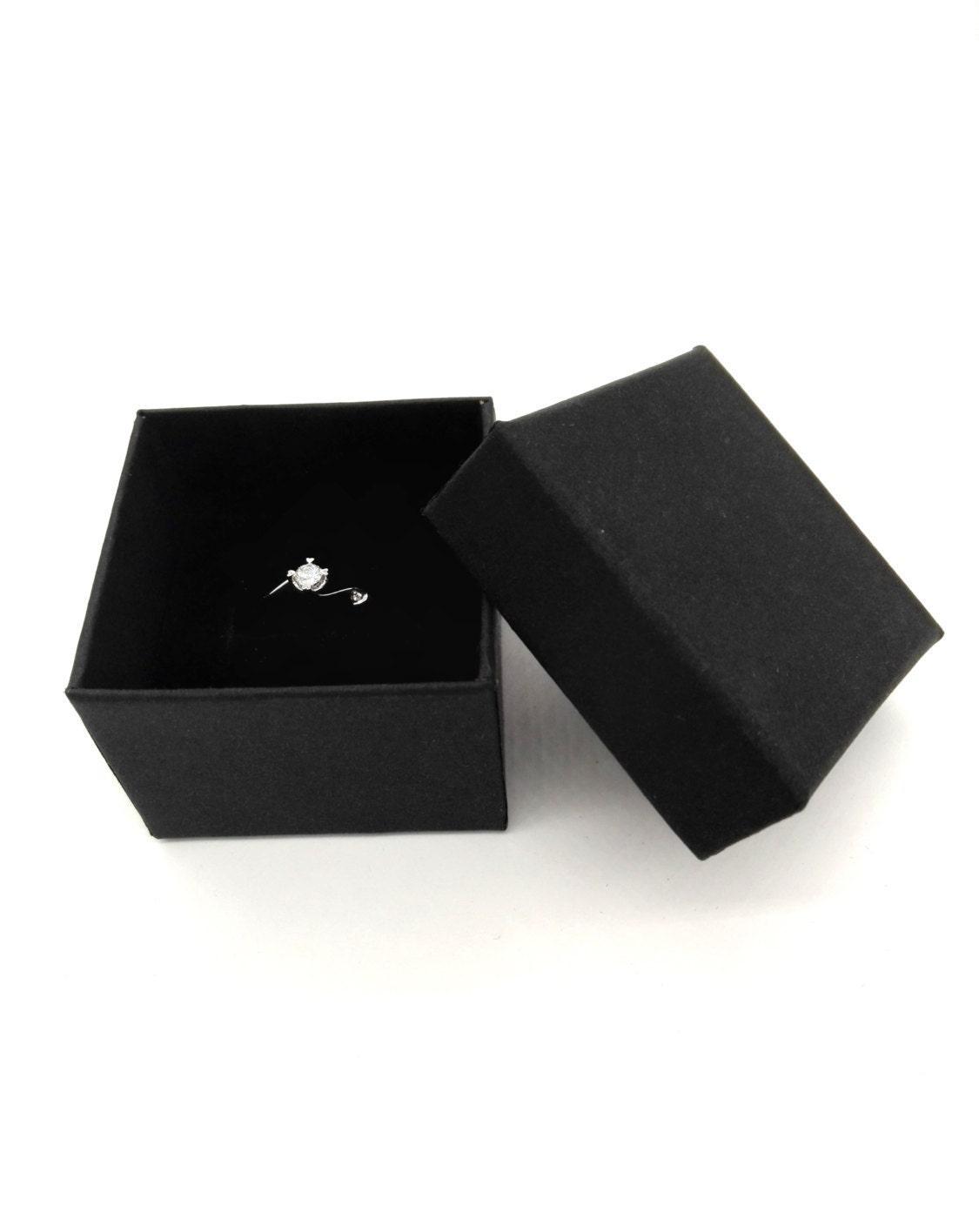 Jewelry box rings boxes black box 50pcs kraft jewelry for Black box container studios