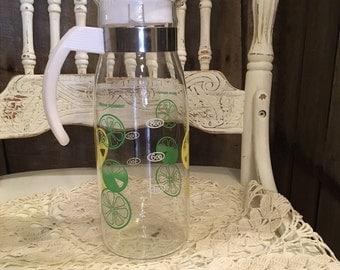 Vintage Lemon Lime Pitcher, Juice Container, Vintage decanter, lid, summer, picnic, retro, glass pitcher, citrus decor, juice carafe