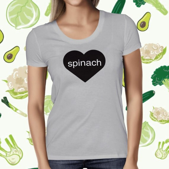Spinach Love T-shirt for Women - Funny Veggie Tee Shirt - Women's Veggie T Shirt - Vegetarian T-shirt for Women - Plant-based Tee Shirt