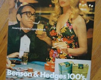 Vintage 1960s Cigarette advertising - Vintage Advertising - Tobacciana - Benson and Hedges cigarette Ad - Retro decor, Vintage Pinup artwork