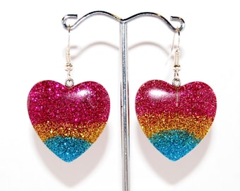 Rainbow Sparkle Love Heart Kawaii Earrings Cute Multicoloured Pink