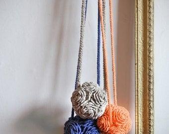 Crochet Rose necklace, Crochet Jewelry, Flower Necklace, Crochet Neck Accessory, Linen Crochet necklace, Home decoration
