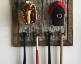 Rustic industrial baseball display