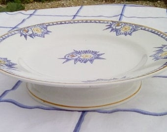 Vintage French cake stand or pedestal plate, St Amand demi-porcelaine.