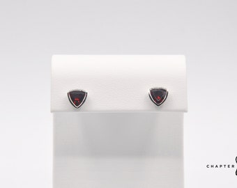 Garnet Trillion with Border | Garnet Triangle Earrings | Garnet Stud Earrings | Red Stud Earrings | Red Stone Earrings | 925 Sterling Silver