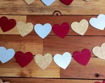 Heart Garland // Wedding Decor // Glittered Heart Garland Banner // Baby Shower // Photo Prop Backdrop