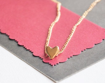 Gold heart necklace, Tiny Love heart, Love you jewelry, Bridesmaids gift, Dainty heart pendant, Heart jewellery, Engagement gift, Girlfriend