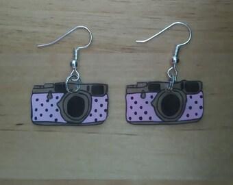 Camera earrings pink