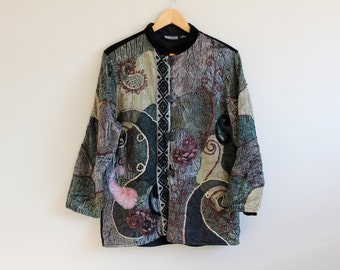 Vintage 70's Paisley Patchwork Hand Embroidered Kimono Style Ladies Jacket Medium