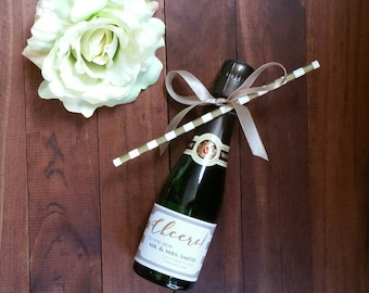 Mini Champagne Labels | Mini Wine Labels | Wedding Wine Label | Thank You | Tan and White Stripe Favor | Gold | **LABELS ONLY**