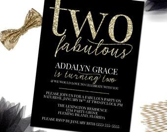 Two Fabulous Birthday Invitation, Glitter Birthday Invitation, 2nd Birthday Invitation, 2nd Birthday Invitation Girl,  Printable Invitation