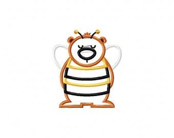 Bear bee suit machine embroidery 4x4 design, bear embroidery design, bear machine embroidery, bee embroidery design