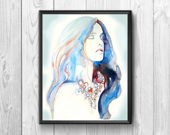 Stylized portrait of a woman with her hair down, executed to watercolor .Colori and original shades
