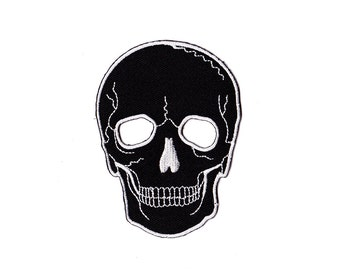Skull  Patch - Black See ThroughEye Skull  patch Embroidered Iron on Patch - Skull  Iron on Applique