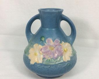 Roseville Pottery Cosmos Blue Bud Vase 944-4